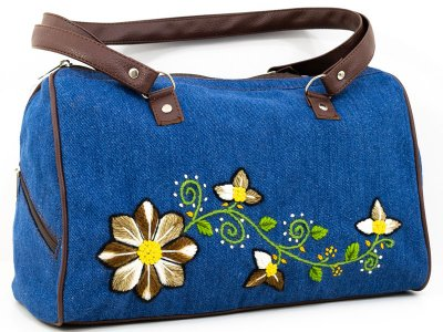 Cartera bordada de jean CAR0802158