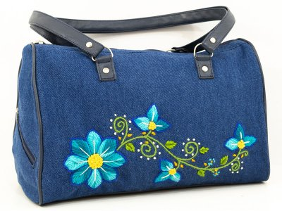 Cartera bordada de jean CAR0802160